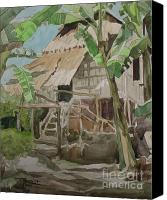 Filipino Canvas Prints - Nipa Hut in Bohol Canvas Print by Bong Perez