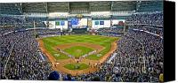 Mlb Canvas Prints - NLDS Miller Park Milwaukee Canvas Print by Steve Sturgill