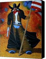 Contemporary Cowboy Canvas Prints - No Trespassing Canvas Print by Lance Headlee