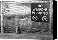 Sign Canvas Prints - No Weapons Permitted Canvas Print by Bob Orsillo
