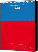 Movie Poster Canvas Prints - No046 My jaws minimal movie poster Canvas Print by Chungkong Art