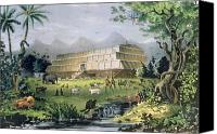 Noah Canvas Prints - Noahs Ark Canvas Print by Currier and Ives