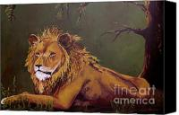 Creature Painting Canvas Prints - Noble Guardian - Lion Canvas Print by Patricia Awapara