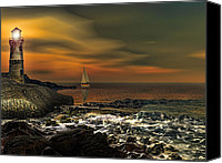 Lighthouses Canvas Prints - Nocturnal Tranquility Canvas Print by Lourry Legarde