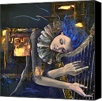 Figurative Canvas Prints - Nocturne Canvas Print by Dorina  Costras