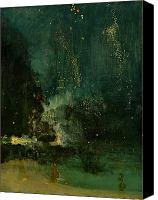 Independence Day Painting Canvas Prints - Nocturne in Black and Gold - the Falling Rocket Canvas Print by James Abbott McNeill Whistler