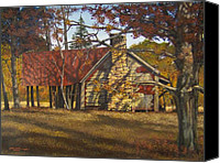Egg Tempera Painting Canvas Prints - Nolan Corners Farmhouse Canvas Print by Peter Muzyka