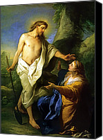 Magdalene Canvas Prints - Noli Me Tangere Canvas Print by Carle Vanloo