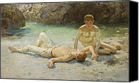 Tanning Canvas Prints - Noonday Heat Canvas Print by Henry Scott Tuke
