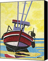 Norfolk Painting Canvas Prints - Norfolk Puddled Boat Canvas Print by Lesley Giles