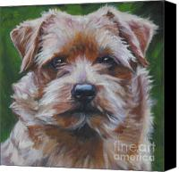 Norfolk Painting Canvas Prints - Norfolk Terrier Canvas Print by Lee Ann Shepard