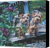 Norfolk Painting Canvas Prints - Norfolk Terrier Pair Canvas Print by Lee Ann Shepard