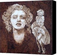 Monroe Pyrography Canvas Prints - Norma Jean Canvas Print by Dan LaTour