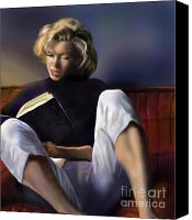 Blonde Canvas Prints - Norma Jeane Baker Canvas Print by Reggie Duffie