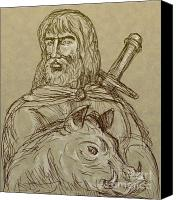 Myth Canvas Prints - Norse god of agriculture Canvas Print by Aloysius Patrimonio