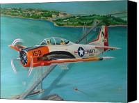 Airplane Painting Canvas Prints - North American T-28 Trainer Canvas Print by Stuart Swartz