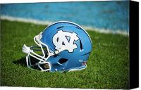 Nc Canvas Prints - North Carolina Tar Heels Football Helmet Canvas Print by Replay Photos