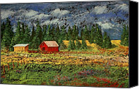 Barn Pastels Canvas Prints - North Idaho Farm Canvas Print by David Patterson