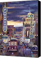 Transportation Painting Canvas Prints - North On Broadway 1940 Canvas Print by Mike Hill