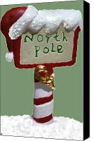 Holiday Cheer Canvas Prints - North Pole Canvas Print by Debra     Vatalaro