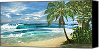 Surfers Canvas Prints - North Shore Canvas Print by Lisa Reinhardt