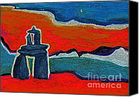 Black Family Pastels Canvas Prints - North Story Inukshuk Canvas Print by First Star Art