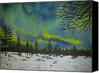 Snowy Night Canvas Prints - Northern lights Canvas Print by Irina Astley