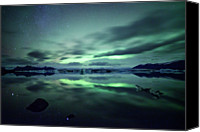 Aurora Borealis Canvas Prints - Northern Lights Over Jokulsarlon Canvas Print by Matteo Colombo