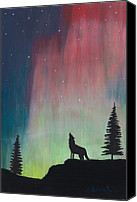 Wolf Pastels Canvas Prints - Northern Lights Stardust Canvas Print by Jackie Novak