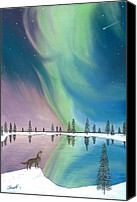 Wolf Pastels Canvas Prints - Northern Lights The Wolf and The Comet  Canvas Print by Jackie Novak