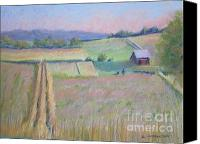 Rural Scenes Pastels Canvas Prints - Northern Michigan Farmland Canvas Print by Sandra Strohschein