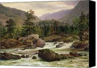 White Wwater Rapids Canvas Prints - Norwegian Waterfall Canvas Print by Thomas Fearnley