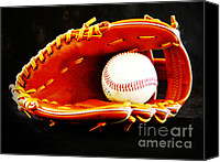 Baseball Mitt Canvas Prints - Nostalgia Canvas Print by Lj Lambert