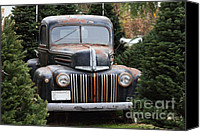 Old American Truck Canvas Prints - Nostalgic Rusty Old Ford Truck . 7D10279 Canvas Print by Wingsdomain Art and Photography