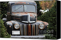 Old American Truck Canvas Prints - Nostalgic Rusty Old Ford Truck . 7D10280 Canvas Print by Wingsdomain Art and Photography