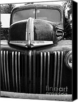 Old American Truck Canvas Prints - Nostalgic Rusty Old Ford Truck . 7D10281 . black and white Canvas Print by Wingsdomain Art and Photography