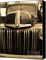 Old Trucks Canvas Prints - Nostalgic Rusty Old Ford Truck . 7D10281 . sepia Canvas Print by Wingsdomain Art and Photography