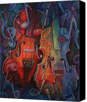 Classical Musical Art Canvas Prints - Noteworthy - A Viola Duo Canvas Print by Susanne Clark