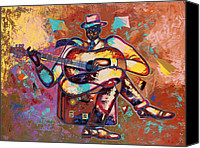 Figurative Canvas Prints - Nothin But Da Blues Canvas Print by Larry Poncho Brown