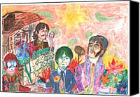 Beatles Pastels Canvas Prints - Nothing is real Canvas Print by Moshe Liron