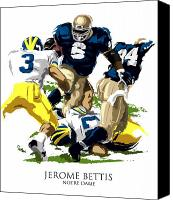 Fighting Canvas Prints - Notre Dames Jerome Bettis Canvas Print by David E Wilkinson
