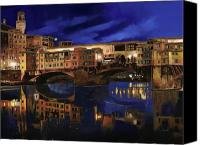 Gold Painting Canvas Prints - Notturno Fiorentino Canvas Print by Guido Borelli