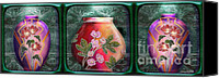 Rosy Hall Digital Art Canvas Prints - Nouveau Deco Vases horizontal triptych Canvas Print by Rosy Hall
