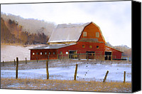 Barn Digital Art Canvas Prints - November Barn Canvas Print by Ron Jones