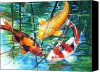 Yellow Canvas Prints - November Koi Canvas Print by Patricia Allingham Carlson