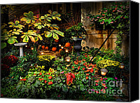 Court Yard Canvas Prints - November NYC Garden Canvas Print by Joan  Minchak