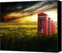 Photomanipulation Canvas Prints - Now Home to the Red Telephone Box Canvas Print by Lee-Anne Rafferty-Evans