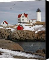 New England Canvas Prints - Nubble Light - Cape Neddick lighthouse seascape landscape rocky coast Maine Canvas Print by Jon Holiday