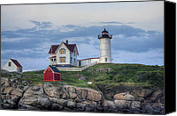 Nubble Light Canvas Prints - Nubble Light at Dusk Canvas Print by Eric Gendron