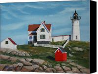 Nubble Light Canvas Prints - Nubble Light House Canvas Print by Paul Walsh